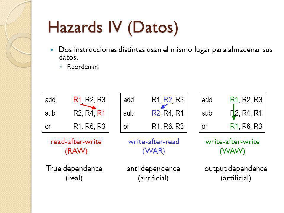 Hazards IV (Datos) Dos instrucciones distintas usan el mismo lugar para almacenar sus datos. Reordenar! addR1, R2, R3 subR2, R4, R1 orR1, R6, R3 addR1