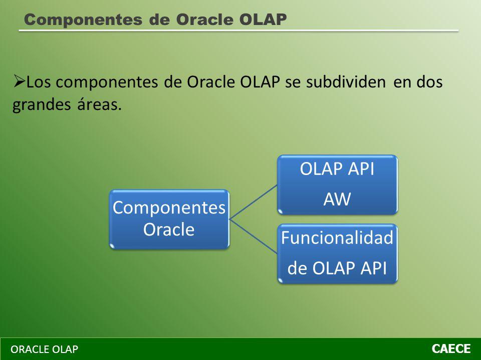 ORACLE OLAP CAECE Componentes de Oracle OLAP Componentes Oracle OLAP API AW Funcionalidad de OLAP API Los componentes de Oracle OLAP se subdividen en