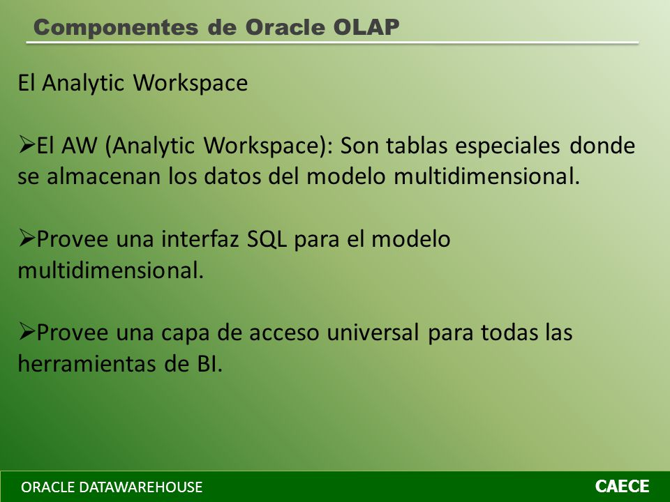 ORACLE DATAWAREHOUSE CAECE Componentes de Oracle OLAP El Analytic Workspace El AW (Analytic Workspace): Son tablas especiales donde se almacenan los d