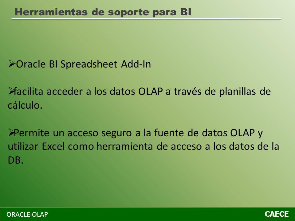 ORACLE OLAP CAECE Herramientas de soporte para BI Oracle BI Spreadsheet Add-In facilita acceder a los datos OLAP a través de planillas de cálculo. Per