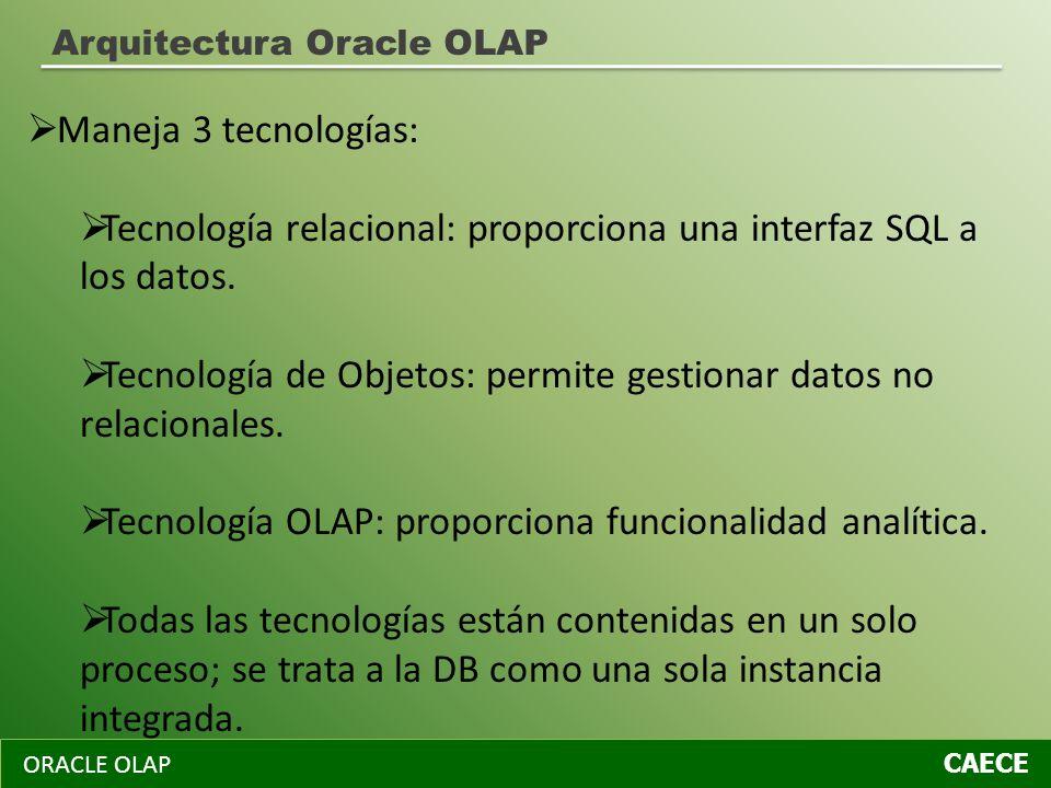 ORACLE OLAP CAECE Arquitectura Oracle OLAP Maneja 3 tecnologías: Tecnología relacional: proporciona una interfaz SQL a los datos. Tecnología de Objeto