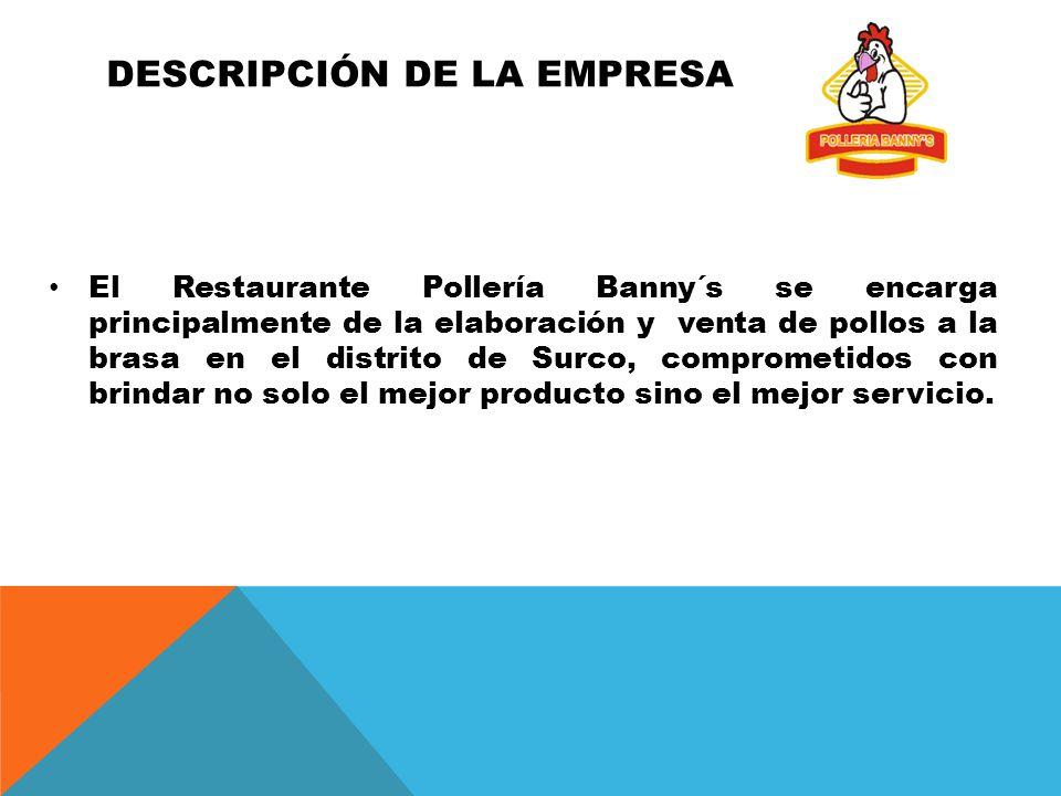 DESCRIPCIÓN DE LA EMPRESA El Restaurante Pollería Banny´s se encarga principalmente de la elaboración y venta de pollos a la brasa en el distrito de Surco, comprometidos con brindar no solo el mejor producto sino el mejor servicio.