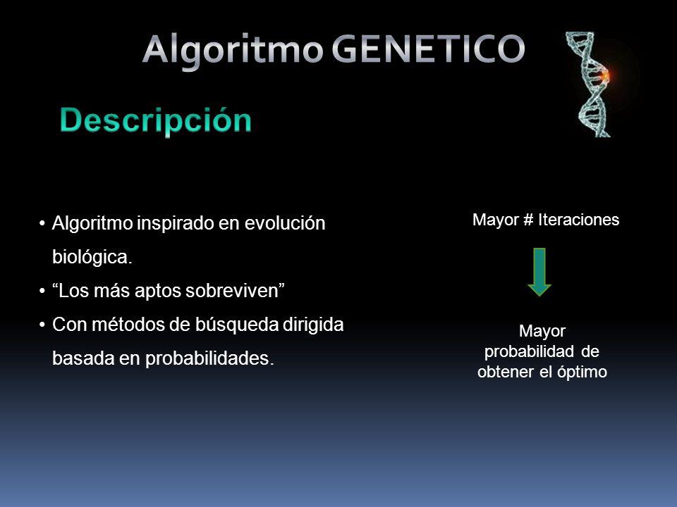 Algoritmo inspirado en evolución biológica.