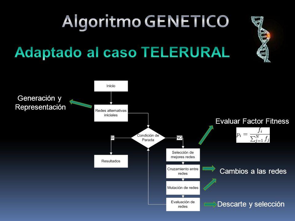 Generación y Representación Evaluar Factor Fitness Descarte y selección Cambios a las redes