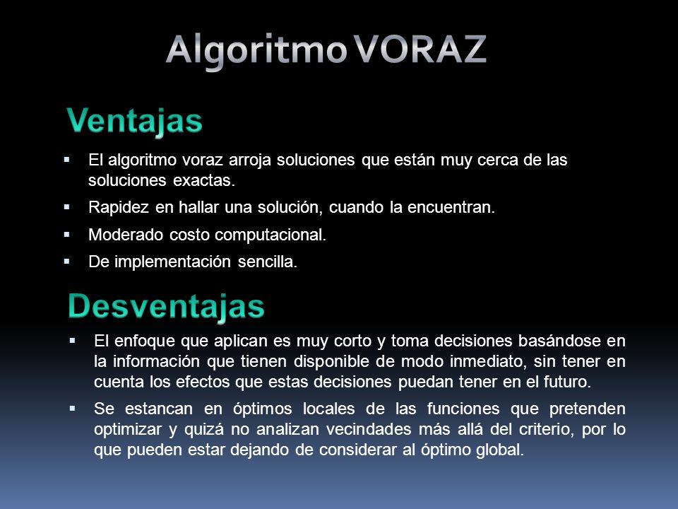 El algoritmo voraz arroja soluciones que están muy cerca de las soluciones exactas.