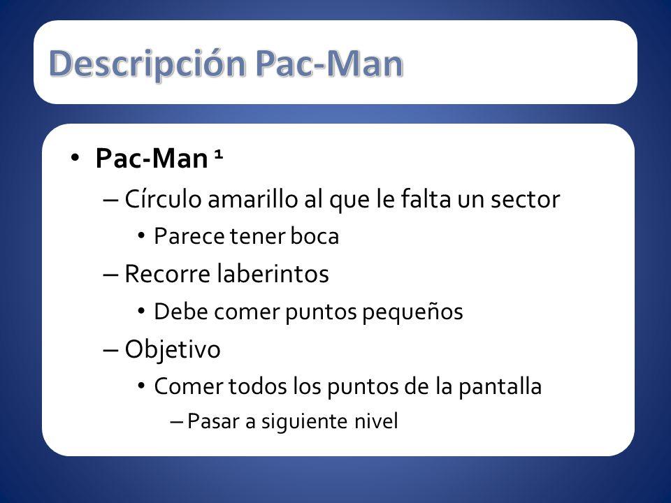 Pac-Man 1 – Círculo amarillo al que le falta un sector Parece tener boca – Recorre laberintos Debe comer puntos pequeños – Objetivo Comer todos los pu