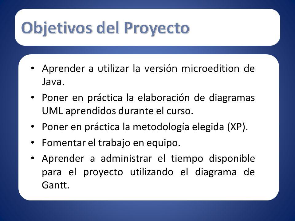 Aprender a utilizar la versión microedition de Java. Poner en práctica la elaboración de diagramas UML aprendidos durante el curso. Poner en práctica