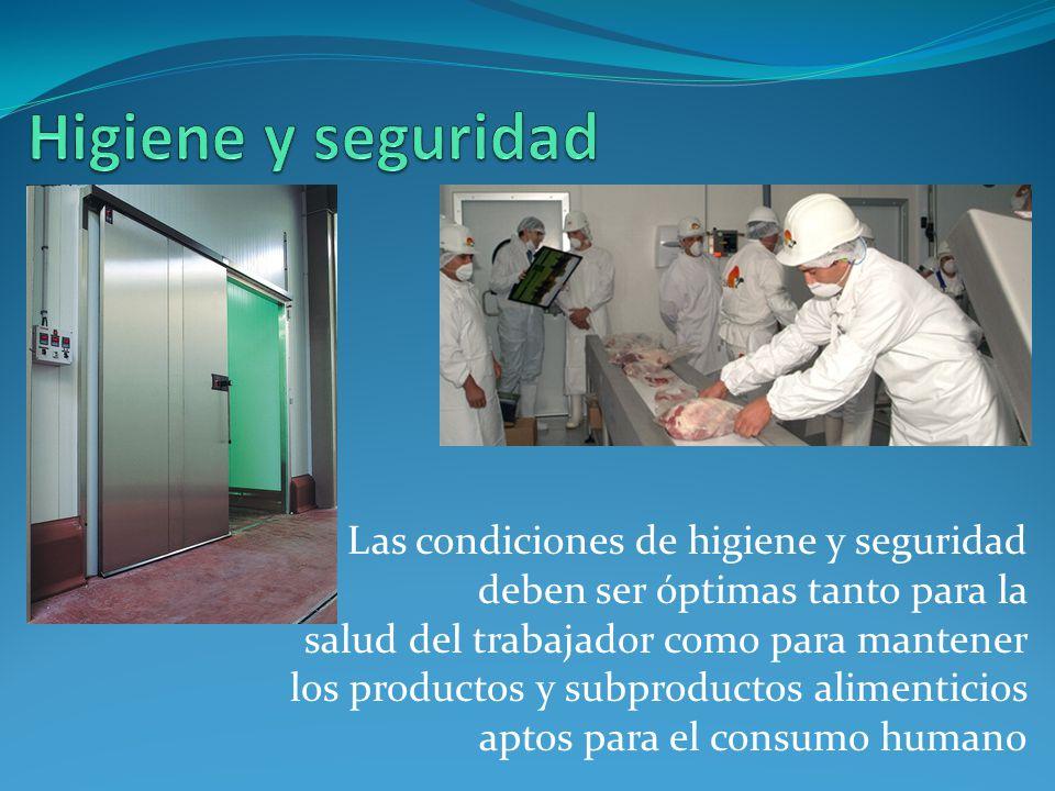 Las condiciones de higiene y seguridad deben ser óptimas tanto para la salud del trabajador como para mantener los productos y subproductos alimenticios aptos para el consumo humano