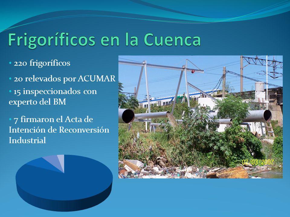220 frigoríficos 20 relevados por ACUMAR 15 inspeccionados con experto del BM 7 firmaron el Acta de Intención de Reconversión Industrial