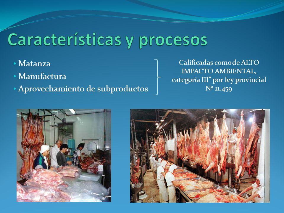 Matanza Manufactura Aprovechamiento de subproductos Calificadas como de ALTO IMPACTO AMBIENTAL, categoría III por ley provincial Nº 11.459