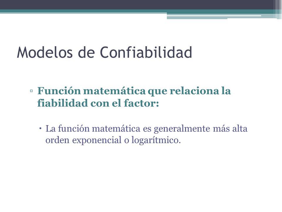 Modelos de Confiabilidad Función matemática que relaciona la fiabilidad con el factor: La función matemática es generalmente más alta orden exponencia