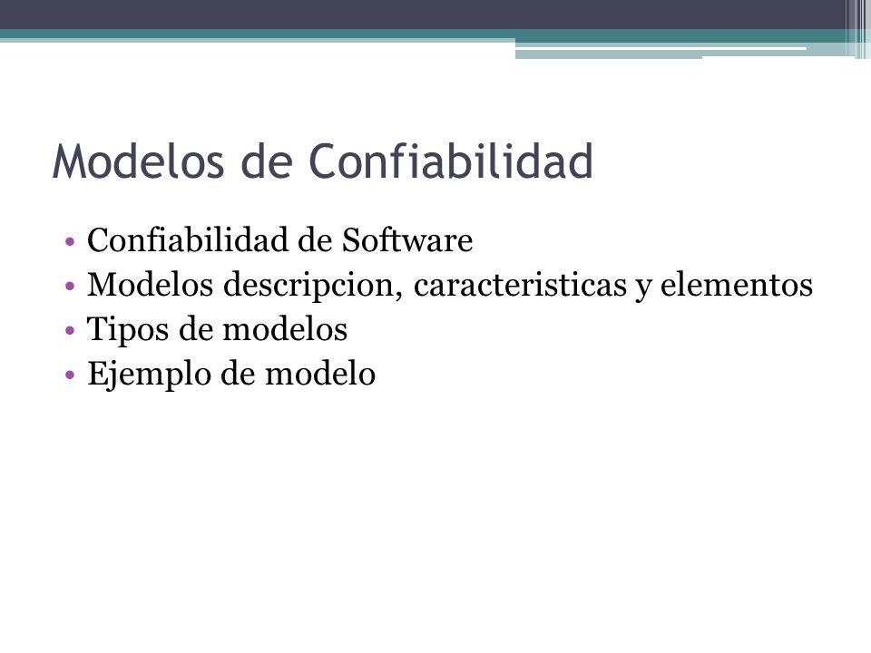 Modelos de Confiabilidad Confiabilidad de Software Modelos descripcion, caracteristicas y elementos Tipos de modelos Ejemplo de modelo