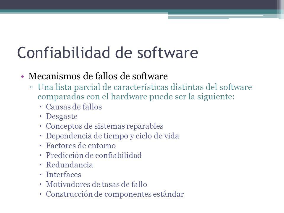 Confiabilidad de software Mecanismos de fallos de software Una lista parcial de características distintas del software comparadas con el hardware pued