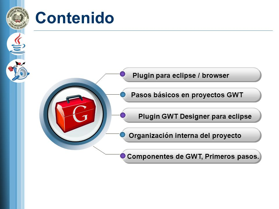 Contenido Plugin para eclipse / browser Pasos básicos en proyectos GWT Organización interna del proyecto Componentes de GWT, Primeros pasos. Plugin GW