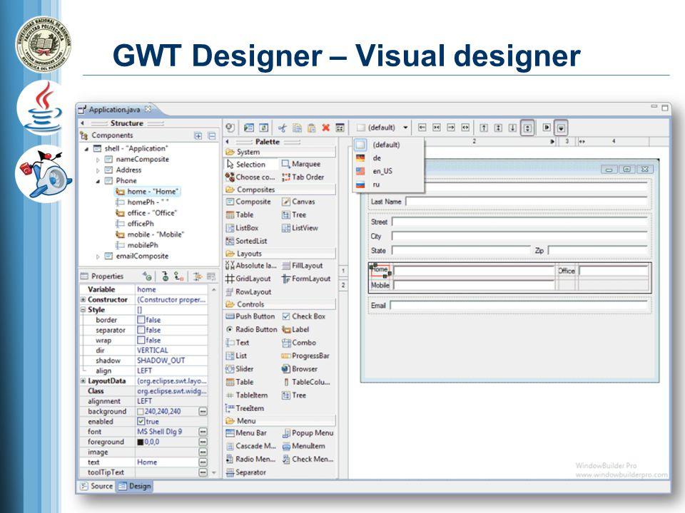 GWT Designer – Visual designer