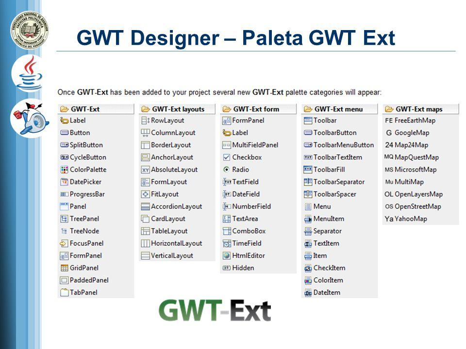 GWT Designer – Paleta GWT Ext