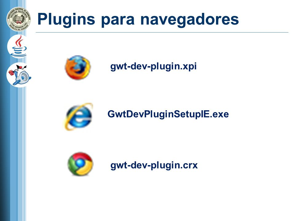 Ejemplo Check : Create GWT Module Module name: TestDesigner Package Name: com.cursojava.ejemplo Check : Create entry point Check : use standar GWT librery