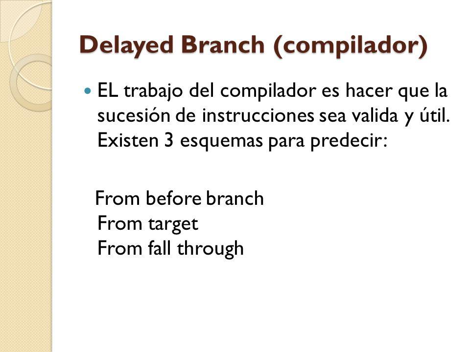 Delayed Branch (compilador) EL trabajo del compilador es hacer que la sucesión de instrucciones sea valida y útil. Existen 3 esquemas para predecir: F