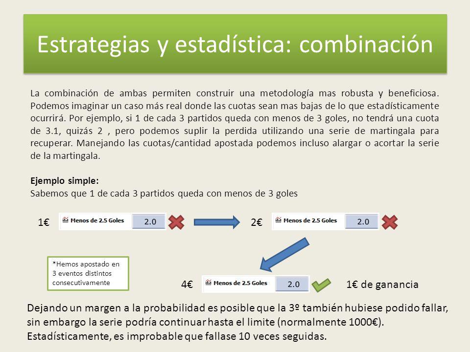 Estrategias y estadística: combinación La combinación de ambas permiten construir una metodología mas robusta y beneficiosa.