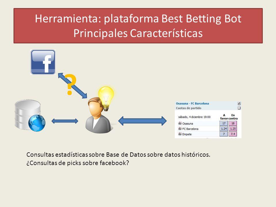 Herramienta: plataforma Best Betting Bot Principales Características Consultas estadísticas sobre Base de Datos sobre datos históricos.