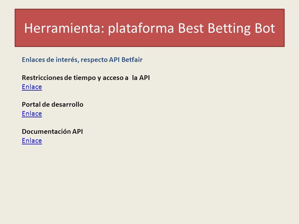 Herramienta: plataforma Best Betting Bot Enlaces de interés, respecto API Betfair Restricciones de tiempo y acceso a la API Enlace Portal de desarrollo Enlace Documentación API Enlace