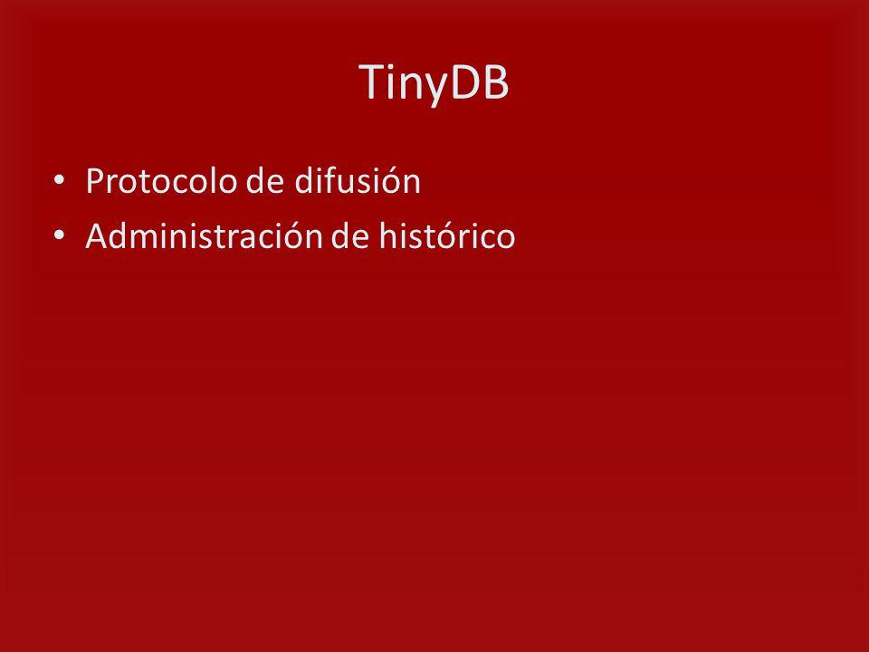 TinyDB Protocolo de difusión Administración de histórico