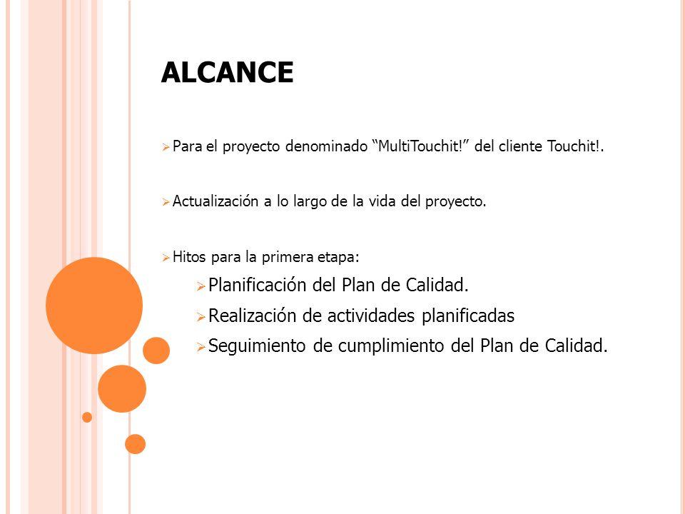 ALCANCE Para el proyecto denominado MultiTouchit! del cliente Touchit!. Actualización a lo largo de la vida del proyecto. Hitos para la primera etapa: