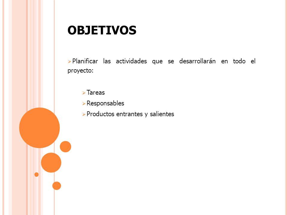 OBJETIVOS Planificar las actividades que se desarrollarán en todo el proyecto: Tareas Responsables Productos entrantes y salientes