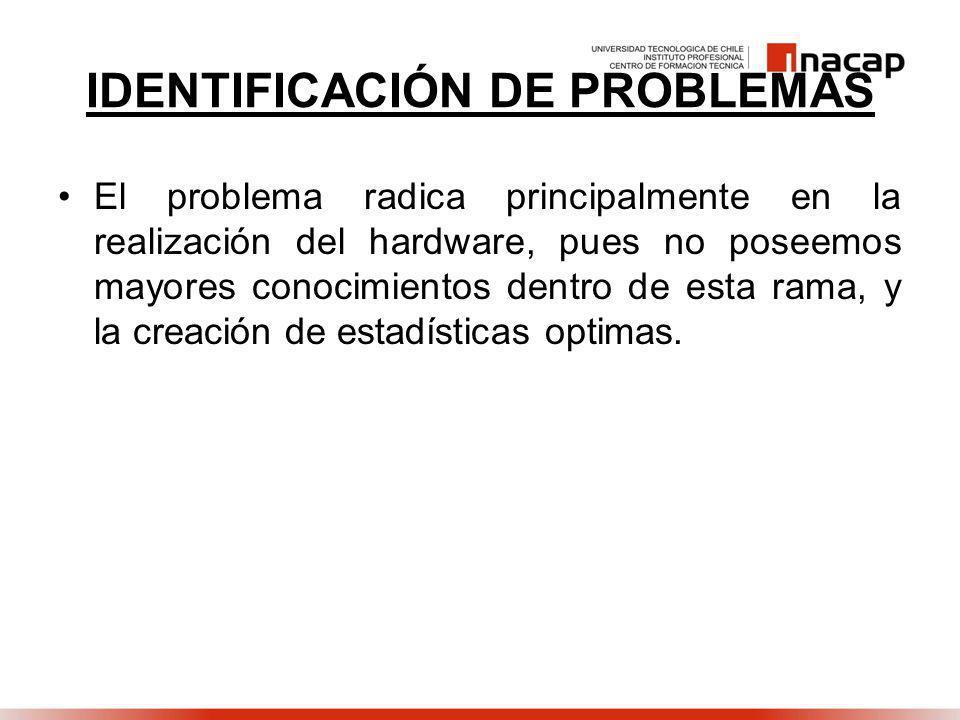 IDENTIFICACIÓN DE PROBLEMAS El problema radica principalmente en la realización del hardware, pues no poseemos mayores conocimientos dentro de esta rama, y la creación de estadísticas optimas.