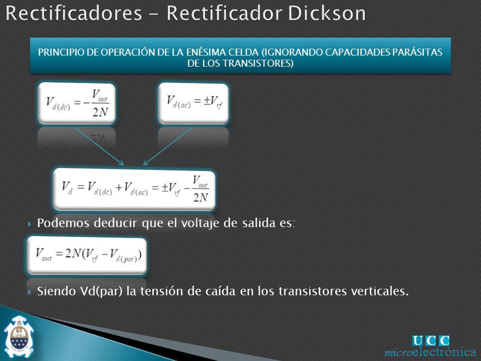 Podemos deducir que el voltaje de salida es: Siendo Vd(par) la tensión de caída en los transistores verticales.
