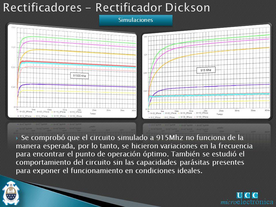 Se comprobó que el circuito simulado a 915Mhz no funciona de la manera esperada, por lo tanto, se hicieron variaciones en la frecuencia para encontrar el punto de operación óptimo.