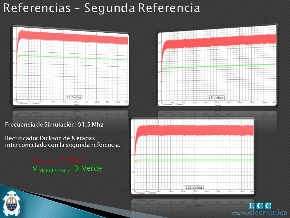 V Dickson Rojo V 2daReferencia Verde Rectificador Dickson de 8 etapas interconectado con la segunda referencia.