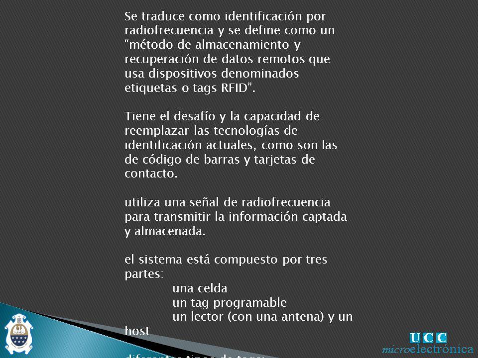 RFID IDENTIFICACION POR RADIOFRECUENCIA REEMPLAZARA CODIGO DE BARRA TARJETA DE CONTACTO SEÑAL DE RADIOFRECUENCIA INFORMACION ALIMENTACION DEL CIRCUITO