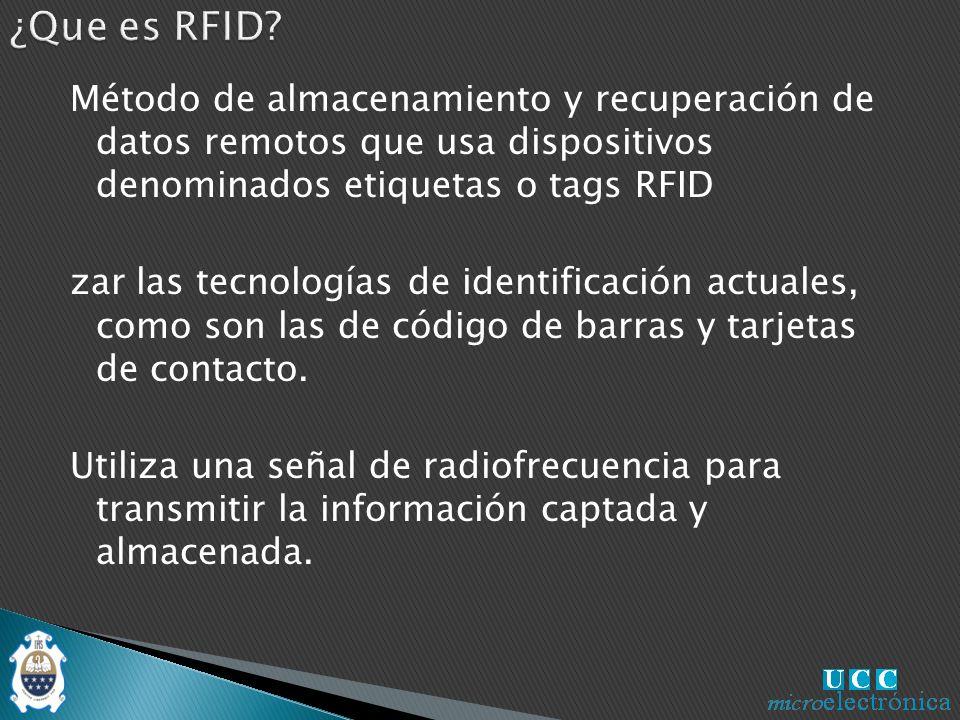 Método de almacenamiento y recuperación de datos remotos que usa dispositivos denominados etiquetas o tags RFID zar las tecnologías de identificación actuales, como son las de código de barras y tarjetas de contacto.
