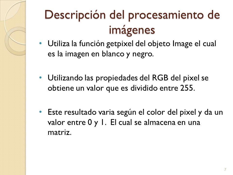 Descripción del procesamiento de imágenes Utiliza la función getpixel del objeto Image el cual es la imagen en blanco y negro. Utilizando las propieda