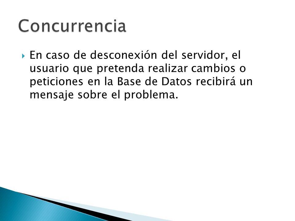 En caso de desconexión del servidor, el usuario que pretenda realizar cambios o peticiones en la Base de Datos recibirá un mensaje sobre el problema.