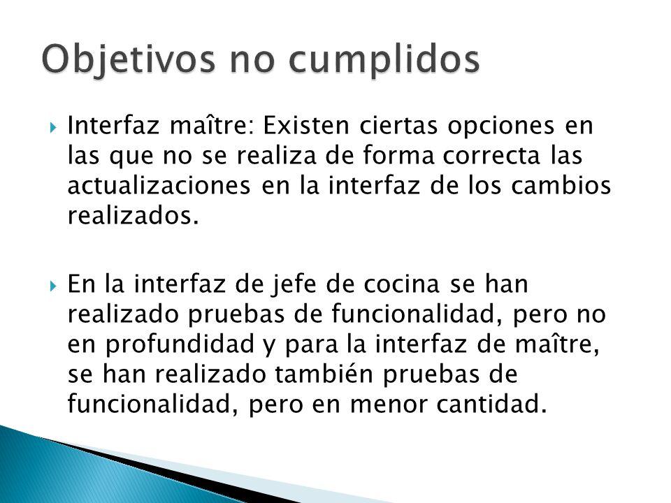 Interfaz maître: Existen ciertas opciones en las que no se realiza de forma correcta las actualizaciones en la interfaz de los cambios realizados. En