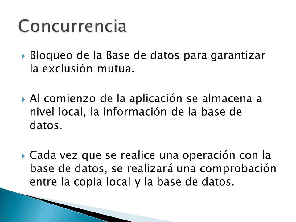 Bloqueo de la Base de datos para garantizar la exclusión mutua. Al comienzo de la aplicación se almacena a nivel local, la información de la base de d