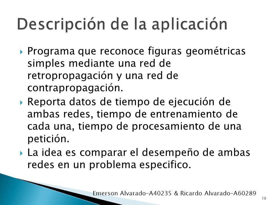 Programa que reconoce figuras geométricas simples mediante una red de retropropagación y una red de contrapropagación. Reporta datos de tiempo de ejec