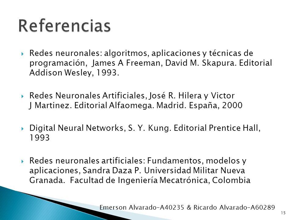 Redes neuronales: algoritmos, aplicaciones y técnicas de programación, James A Freeman, David M. Skapura. Editorial Addison Wesley, 1993. Redes Neuron