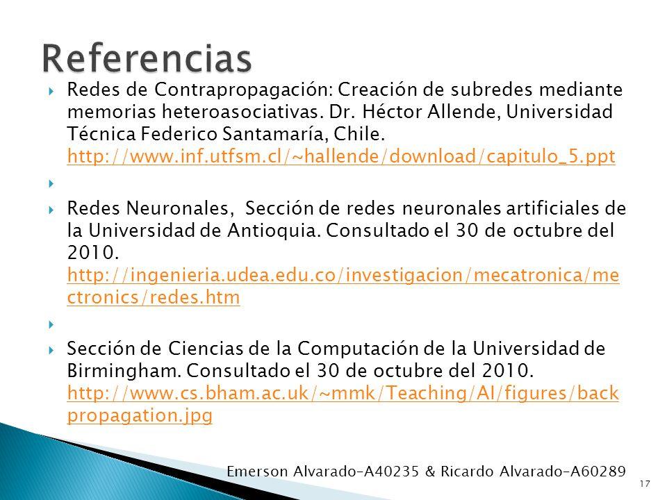 Redes de Contrapropagación: Creación de subredes mediante memorias heteroasociativas. Dr. Héctor Allende, Universidad Técnica Federico Santamaría, Chi