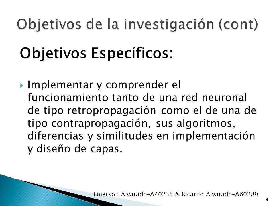 Objetivos Específicos: Implementar y comprender el funcionamiento tanto de una red neuronal de tipo retropropagación como el de una de tipo contraprop