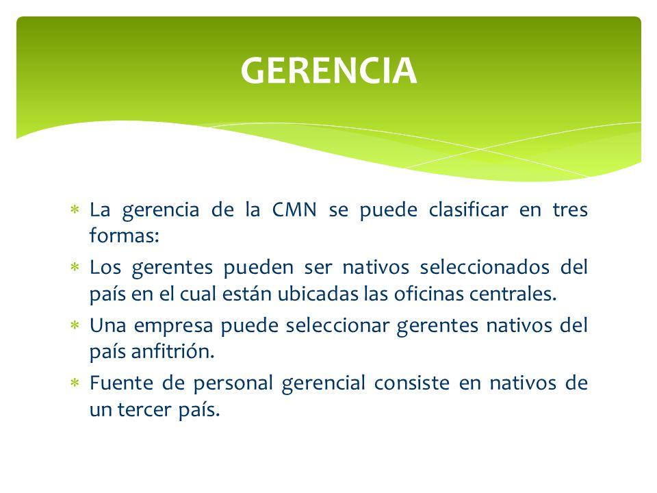 La gerencia de la CMN se puede clasificar en tres formas: Los gerentes pueden ser nativos seleccionados del país en el cual están ubicadas las oficina