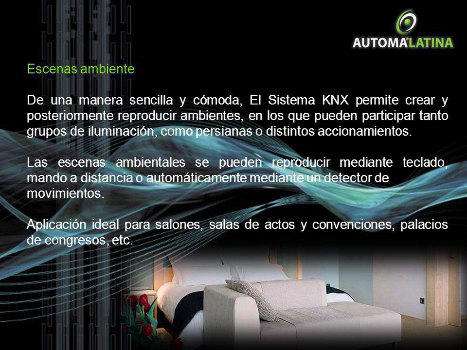 Escenas ambiente De una manera sencilla y cómoda, El Sistema KNX permite crear y posteriormente reproducir ambientes, en los que pueden participar tan
