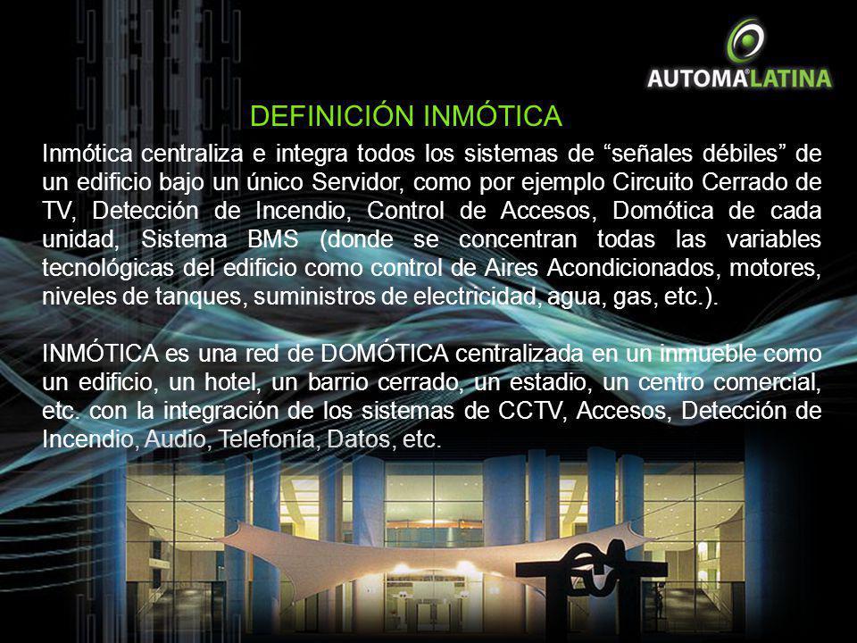 Inmótica centraliza e integra todos los sistemas de señales débiles de un edificio bajo un único Servidor, como por ejemplo Circuito Cerrado de TV, De