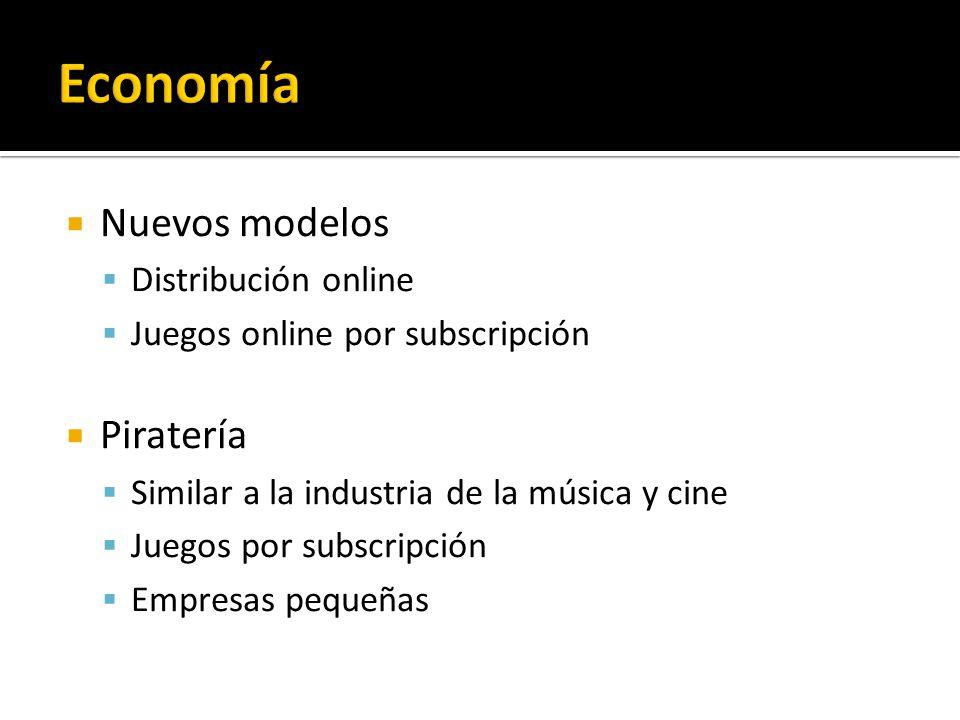 Nuevos modelos Distribución online Juegos online por subscripción Piratería Similar a la industria de la música y cine Juegos por subscripción Empresas pequeñas