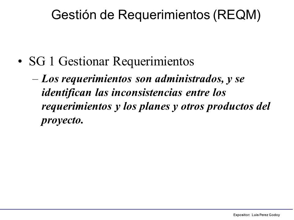 Expositor: Luis Perez Godoy –SP 1.1 Obtener un entendimiento de los requerimientos Gestión de Requerimientos (REQM) Ejemplo de aplicación: Lista de Requerimientos