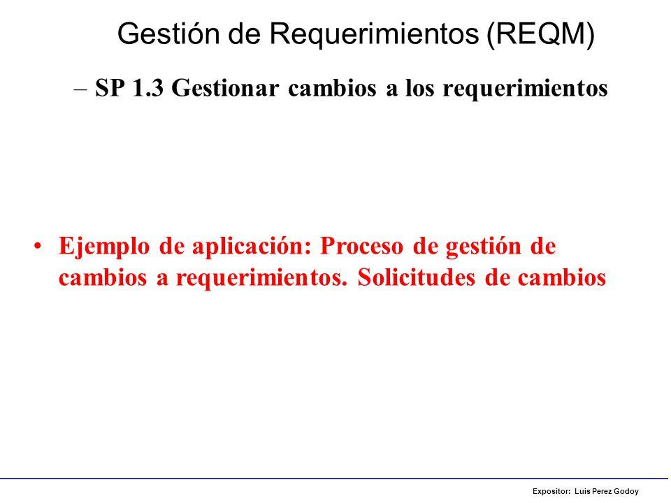 Expositor: Luis Perez Godoy –SP 1.3 Gestionar cambios a los requerimientos Gestión de Requerimientos (REQM) Ejemplo de aplicación: Proceso de gestión