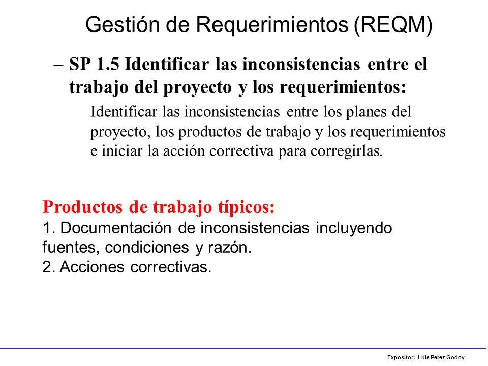 Expositor: Luis Perez Godoy –SP 1.5 Identificar las inconsistencias entre el trabajo del proyecto y los requerimientos: Identificar las inconsistencia