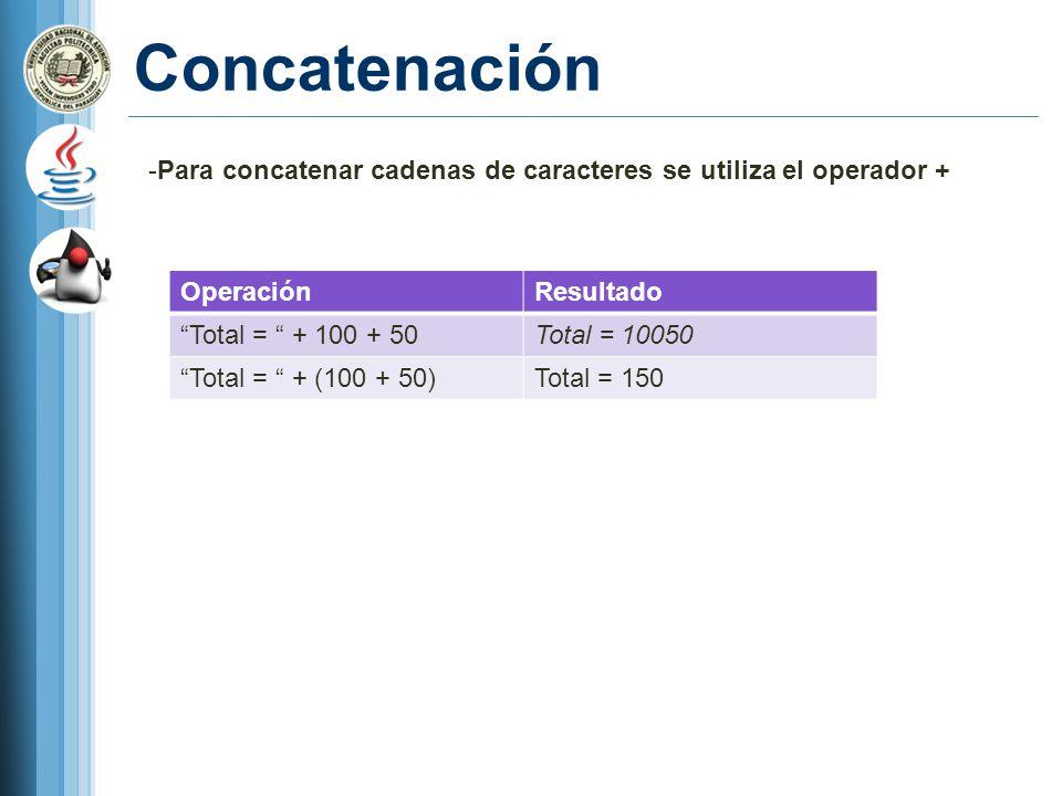 Concatenación -Para concatenar cadenas de caracteres se utiliza el operador + OperaciónResultado Total = + 100 + 50Total = 10050 Total = + (100 + 50)T